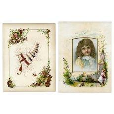 Crystal Soap, Huge Victorian Trade Card + Chromolitho Florals on Album Page