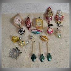 17 Pc Vintage Christmas Ornaments, Santa, Candle Clips, Fish, House, Bells, etc