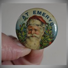 c. 1920's Santa Claus Pinback Button, Great for Dolls, Teddy