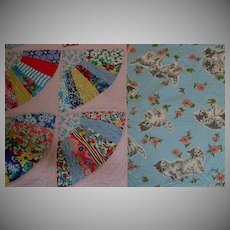 Vintage Child's Quilt, Feedsack Novelty Print Fan Blocks, Kitten Whole Cloth Back, Exc. Cond.