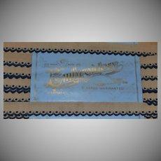 """Antique Blue & Tan Embroidered Scallop Cotton Trim, Orig Pkg 3/4"""" x 6 Yds"""