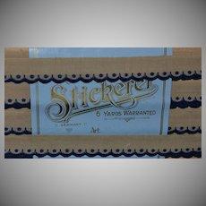 """Antique Blue & Tan Embroidered Scallop Cotton Trim, Orig Pkg 5/8"""" x 6 Yds"""
