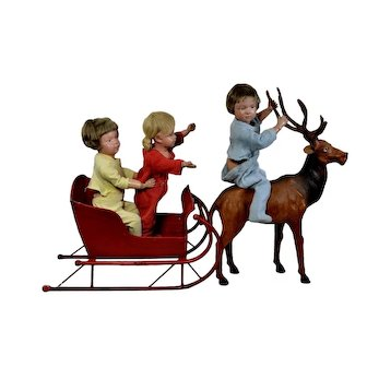 "Red Metal Sleigh - Christmas Fun for 14""-16"" Dolls (no dolls)"