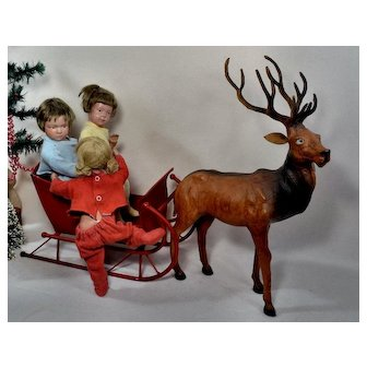 Fabulous Large Leather Reindeer for Dolls Christmas Sleigh Rides