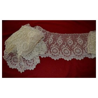 """c. 1890's Bridal Lace, 5 Yards x 7"""" / Use for Doll Costumes"""