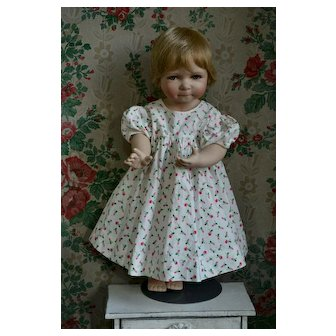 """Vintage Cotton Dress, Pink Roses on White, Puff Sleeves, Fits 20""""-24""""ish Dolls (not inc)"""