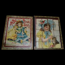 c.1890 Lithographed Wood Blocks / Cats, Girls, Orig. Box with Doll Litho