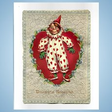 1903 Tuck Valentine, 3-D Clown on Heart, Nice Embossing, by Gassaway or Brundage, Children's Photo Inside