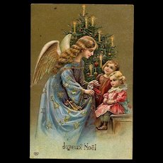 c.1910 Embossed French Post Card, Angel Gives Christmas Doll to Tiny Child