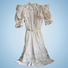 Antique Girl's Dress, Lacy White Net, Puffy Sleeves, Silk Ribbon Trim - Make Doll Clothes