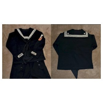 Little Boys Antique Navy Wool Sailor Suit, Middy Braid, Patch, All Buttons Exc. Cond.