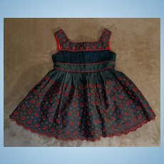 Fabulous Antique Dress, Turkey Red Embroidery on Pine Green, For Large Dolls