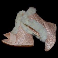 Antique Pink Silk & Fur Boots for Large Bebe