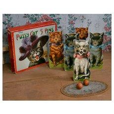 "Louis Wain ""Pussy Cat Five Pins"",  Early 1900 Cat Bowling Game, Original Box"