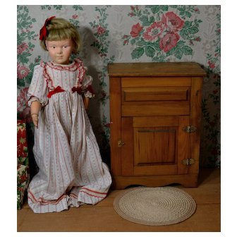c.1940's Larger Doll Size Wood & Tin Icebox