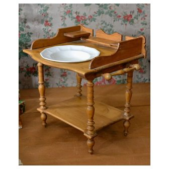 "Antique Washstand for Larger Dolls, Beautifully Made 13"" t x 14"" w x 11 deep"