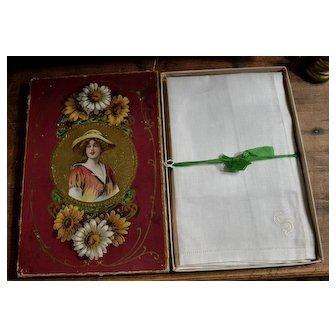 """c. 1915 Three Monogram """"S"""" Handkerchiefs, Unused, Original  Box"""