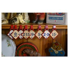 8 Vintage c.1940's Store Shelf Price Tags, Paper Prices on Red Metal Clips
