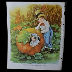 """1939 C.M.  Burd """"Peter, Peter, Pumpkin Eater"""" Print from Children's Book"""
