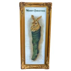 c.1910s Antique Picture Frame, Gesso Ornamentation, Includes New Christmas Rabbit Art Print