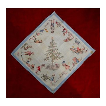 c. 1890 Child's Christmas Handkerchief- Kids, Dolls, Toys, Decorated Tree