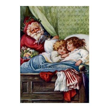 c.1900 Father Christmas / Santa Peeks At Sleeping Girls, Ada Bowley Antique Print ♥
