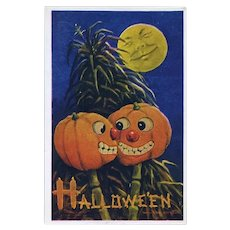 H-111 Bernhardt Wall Pumpkins Canoodling Behind Haystack, Antique  Halloween Postcard MINTY