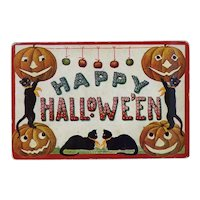 "H-121 ""Happy Hallowe'en"" Cats, Pumpkins Present Greeting, Never Mailed, Int'l Art Publishers"