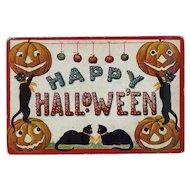 "H-121 ""Happy Hallowe'en"" Cats, Pumpkins Present Greeting, Never Mailed, Int'l Art Publishers"