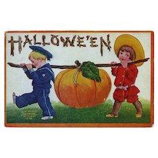 H-103 Buster Brown & Sailor Boy Carry Pumpkin, 1908 Int'l Art Pub. Halloween Postcard