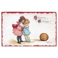 H-25 c. 1912 Frances Brundage Halloween Postcard, JOL Scares Toddler