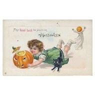 H-119 Running Girl with JOL Trips on Black Cat, Boy BOO! Antique Halloween Postcard
