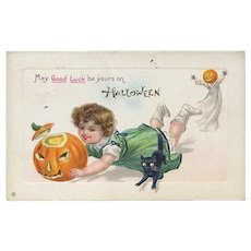 H-119 Running Girl with JOL Trips on Black Cat, Boy BOO! Antique Halloween Postcard