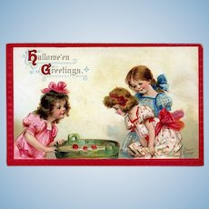 H-123 Frances Brundage Signed 1913 Halloween Postcard, Pretty Girls Apple Bobbing