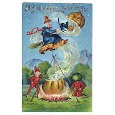 H-125 Antique Halloween Postcard, 1909, Pumpkin Moon, Flying Witch, Goblins Cook