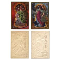 H-128 Pair Nash Halloween Postcards, Embossed Witches, Spooks, Cat, Mouse Unused Series No. 3