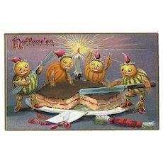 H-129 Antique Halloween Postcard 1908, R. Tuck, Gourd Goblins Take the Cake