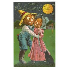 H-133 Antique Halloween Postcard, Pumpkin Lady Flirts with Pumpkin Man in Overalls, Never Used