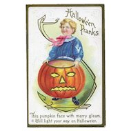 H-135 Antique Halloween Postcard, Sailor Boy Holds Huge JOL, Stecher