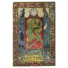 H-136 Gottschalk Halloween Postcard, Witch, Green Goblins, Midnight Hour, Cat, Antique Postcard