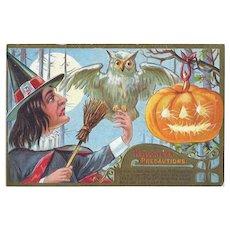 H-137 Nash 1909 Halloween Postcard, Funky Witch, Pet Owl, JOL Series 2
