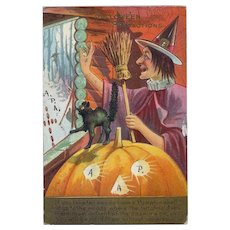H-138 Nash Halloween Postcard 1909, Scaredy Cat, Laughing Witch Series 2