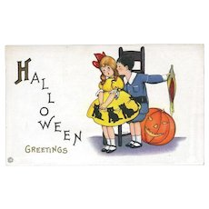 H-139 c..1910 Unused Minty Margaret Evans Price Halloween Postcard, Girl with Cats on Costume