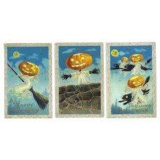 H-145 Barton Spooner, Set of 3 Antique Halloween Postcards, Ghosts Goblins Cats