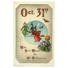 H-142 Gottschalk 1911 Halloween Postcard, Oct 31, Witches, Pumpkin Man, Bats