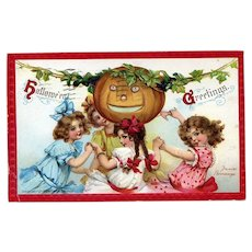 H-147 Little Girls Dance Around JOL, 1911 Frances Brundage Halloween Postcard