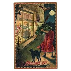 H-21 Raphael Tuck Unused Antique Postcard Witch / Cat Watch Halloween Party in Window