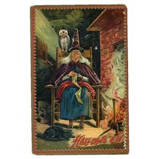 H-23 Antique Raphael Tuck Halloween Postcard, Witch by Fire Knits, Owl Watches, Cat Snoozes, Unused