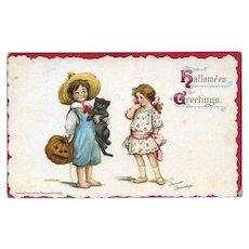 H-24  Frances Brundage Children, Cat, JOL 1913 Halloween Postcard