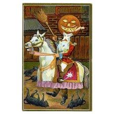 H-127 Unsigned Bamberger Halloween Postcard, PM Oct 31, 1911, Soldier Pumpkin Man on Horse